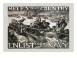 Help Your Country Stop This. Enlist in the Navy Wall Decal by Frank Brangwyn