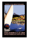 Evian les Bains and le Lac Leman Wall Decal by Georges Dorival