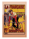 La Francaise: Bordeaux-Paris Bicycle Race Wall Decal by Marodon 