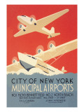 City of New York Municipal Airports Wall Decal by Harry Herzog