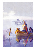 Arthur and Excalibur Autocollant mural par Newell Convers Wyeth