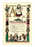 A for Alice in Wonderland Wall Decal by Tony Sarge