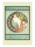 Woman's Profile Wall Decal by Alphonse Mucha