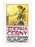Zdenka Cerny: The Greatest Bohemian Violoncellist Wall Decal by Alphonse Mucha