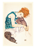 Painter's Wife, Seated Seinätarra tekijänä Egon Schiele