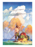 Robinson Crusoe's Raft Wall Decal by Newell Convers Wyeth