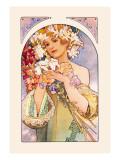 Flower Wallsticker af Alphonse Mucha