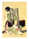 Japanese Mother and Child Wall Decal by Kitagawa Utamaro