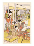 Painting in the House Wall Decal by  Utamaro Kitagawa