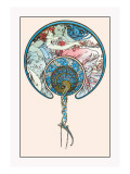 The Passing Wind Takes Youth Away Wall Decal by Alphonse Mucha