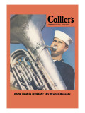 Navy Tuba Player Wall Decal