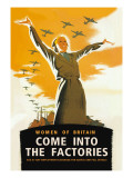 Women of Britain, Come Into the Factories Wall Decal by Brydone
