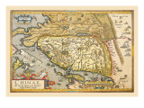 Map of Far East China Wall Decal by Abraham Ortelius