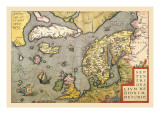 Map of North Sea Wall Decal by Abraham Ortelius