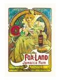 Fox-Land Jamaica Rum Wallstickers af Alphonse Mucha