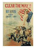 Clear the Way! Buy Bonds, Fourth Liberty Loan Wall Decal by Howard Chandler Christy