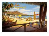 Aloha Hawaii tekst op poster Muursticker van Kerne Erickson