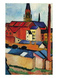 St. Mary's Church with Houses and Chimney Wall Decal by Auguste Macke