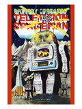 Battery Operated Television Spaceman Wallsticker