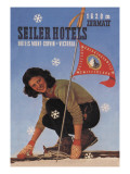 Seiler Hotel: Woman Adjusting Skis Wall Decal