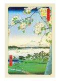 Cherry Blossoms Wall Decal by Ando Hiroshige