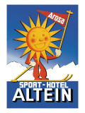 Sport Hotel Altein: Sun-Headed Skier Wall Decal by Seiler