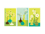 Retro Flowers in Vase Triptych Wall Decal
