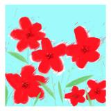Røde blomster Wallstickers