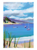 Coastal Scene with Boats Wall Decal