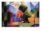 Garden On The Lake of Thun Adhésif mural par Auguste Macke