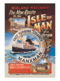 New Route to the Isle of Man Via Heysham on the Fast Turbine Steamer Manxman Wall Decal by Herbert Steventon