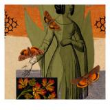 Figurative Collage with Moths - Duvar Çıkartması