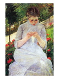 Young Woman Sewing In The Garden Wall Decal by Mary Cassatt