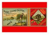 Puget Sound Salmon Can Label Muursticker