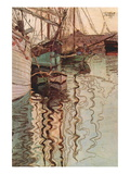 Sailboats In Wollenbewegten Water Wall Decal by Egon Schiele