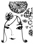 Doodle Lady in Black and White Wall Decal