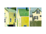Yellow Houses Triptych Wall Decal