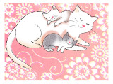 Mommy Cat and Kittens Wall Decal