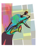 Saxophone Jazz Player on Colorful Geometric Background Wall Decal