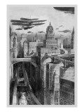 The New York of the Future as Imagined in 1911 Wall Decal by Richard Rummell
