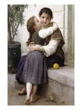 A Little Coaxing Wallstickers af William Adolphe Bouguereau