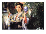 A Young Woman Holds Japanese Goods Wall Decal by James Tissot