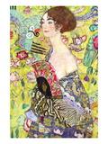 Dame med vifte Wallstickers af Gustav Klimt