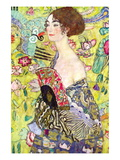 Dama con abanico Vinilo decorativo por Gustav Klimt