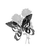 Greyscale Print of Butterfly on Flowers Adhésif mural