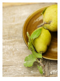 Pears on Brown Ceramic Plate Wall Decal