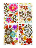 Four Floral Designs Muursticker
