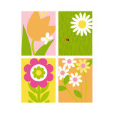 Summer Flowers Four Patch Wall Decal