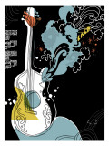 Psychedelic Guitar Wall Decal