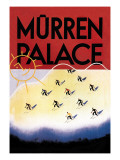 Murren Palace: Skiing at Sunset Wall Decal by Willy Trap